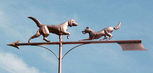 Two Dogs Playing Weathervane