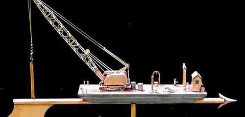 Barge With Crane Weathervane